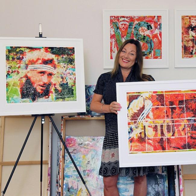 """<span>""""Björn Borg är en ikon! Det finns en aura runt honom"""", säger konstnären Maria Larkman som hyllar tennislegenden med fyra nya tavlor. Klicka på plussen i bilden för att handla direkt i LEVA&BO:s konstgalleri.<br></span>"""