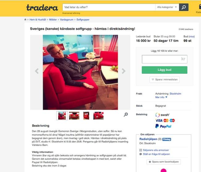 Tradera Sveriges mest kända soffa auktioneras ut Leva& bo