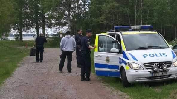 Polis kallades till platsen. Foto: Andreas Björklund