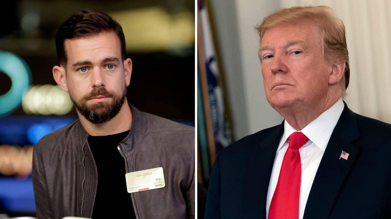 Donald Trump and Jack Dorsey, CEO of Twitter, in meeting