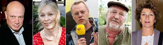 Robert Aschberg, Stina Dabrowski, Svante Weyler, Plura Jonsson och Ameilia Adamo stöttar Facebook-kampanjen om att få Dawit Isaak fri.