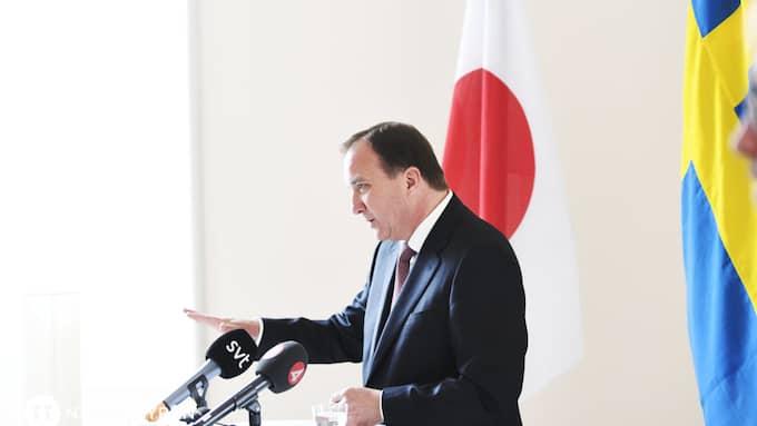 Stefan Löfven höll presskonferens tillsammans med den japanske premiärministern Shinzo Abe. Foto: MAJA SUSLIN/TT / TT NYHETSBYRÅN