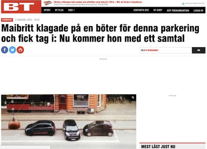 Parkeringshistorien har fått uppmärksamhet i danska medier.
