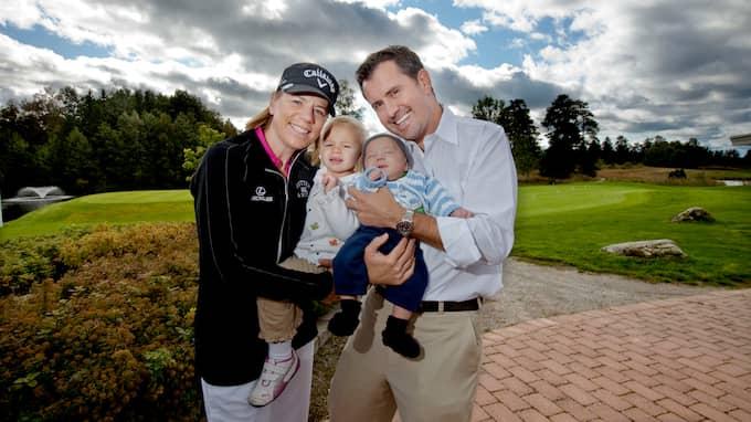 Annika Sörenstam med maken Mike McGee och barnen Ava och Will. Foto: ROBBAN ANDERSSON