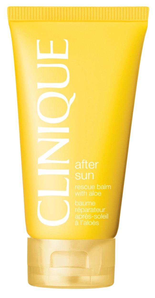 """<span><strong>After sun rescue balm with aloe, 270 kronor/150 ml, Clinique</strong><br>Aloe vera-berikad lite silkig lotion som svalkar och ger lite lyster åt solbrännan efter en dag på stranden. Den går in i huden på ett litet ögonblick och huden känns återfuktad länge. Litet minus för tråkig tub-förpackning men plus för den dryga konsistensen. Clinique.se</span><span><span class=""""wasp-icon""""></span><span class=""""wasp-icon""""></span><span class=""""wasp-icon""""></span><span class=""""wasp-icon""""></span><br></span>"""