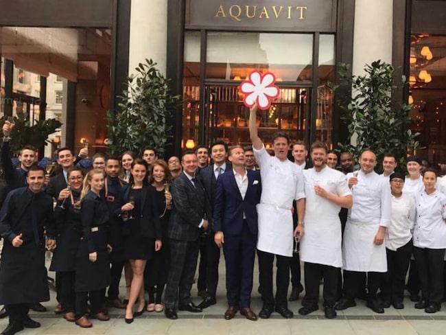 Aquavit har blivit belönad med en stjärna i prestigefulla Guide Michelin.