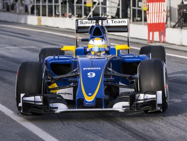 Marcus Ericsson under försäsongstesterna i Spanien.