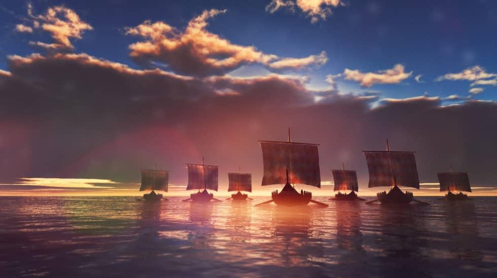 Daner, svear, götar och norrmän slåss tillsammans med Knut den store om tronen i England – en här på 10 000 man. Foto: GETTY IMAGES