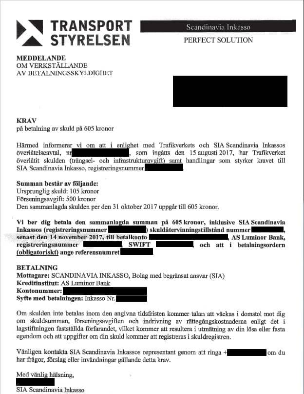 Så här ser bluffakturan från det lettiska företaget ut. Foto: Transportstyrelsen