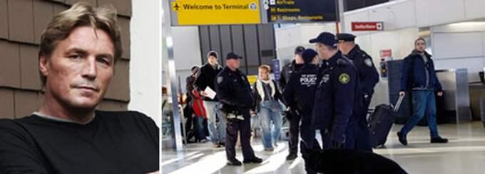 Thomas Bodström påstår att en FBI chef berättat att kontrollerna på flygplatserna i USA bara är en fasad för att lugna medborgarna. Foto: Linus Sundahl-Djerf och AP