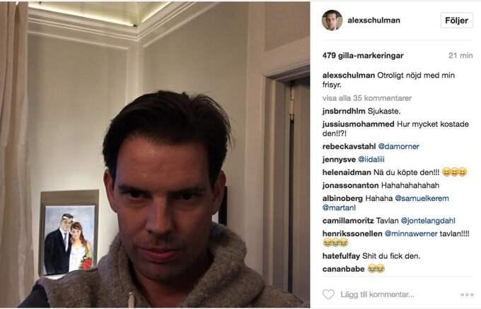 Nu är dem omtalade tavlan på Marcus Birro och hans exfru Jonna Vanhatalo i Alex Schulmans ägo. Foto: Instagram