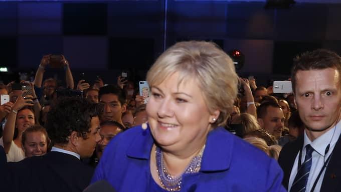 I dagens sändning synar vi bland annat det norska valet – där statsminister Erna Solberg drog det längsta strået. Foto: MARIUS GULLIKSRUD / STELLA PICTURES MARIUS GULLIKSRUD