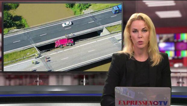 Sopbil hänger från E6 – på väg ner i Rönneå