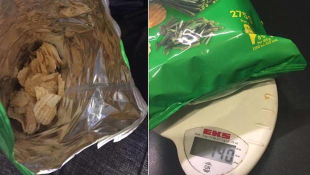Vägde chipspåsen – blev rejält snopen av siffran
