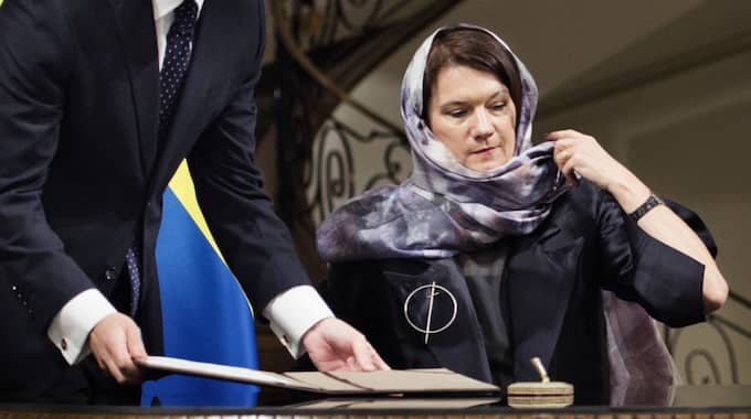 Ann Lindes slöja under Iranbesöket skapade debatt hemma i Sverige. Foto: Anna-Karin Nilsson / ANNA-KARIN NILSSON EXPRESSEN