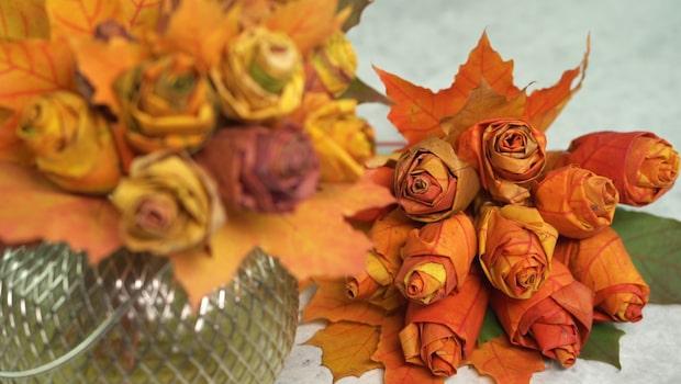 Så enkelt gör du vackra blommor av lönnlöv