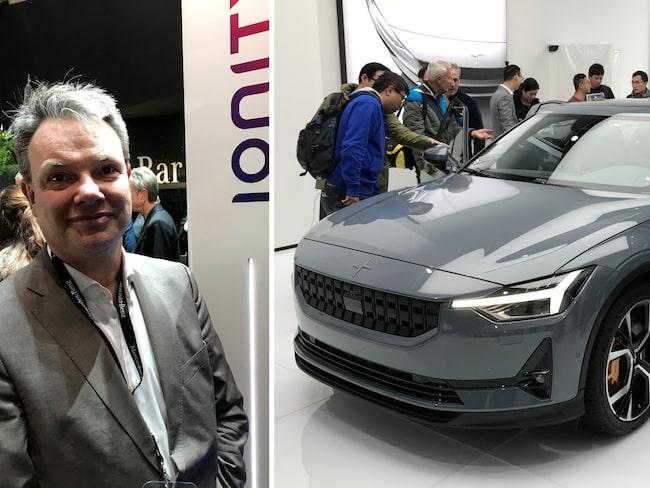 Ionitys PR-chef Paul Entwistle och Volvos första elbil Polestar 1.