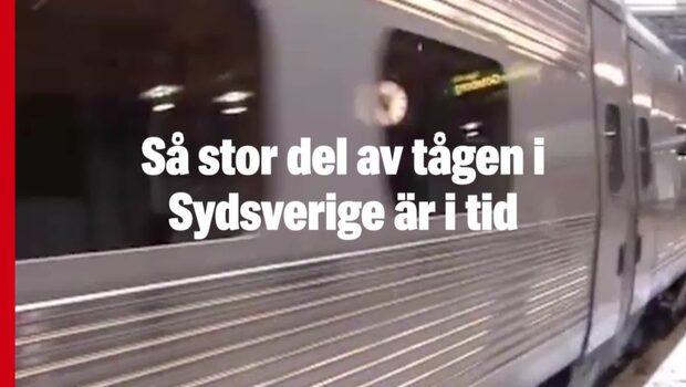 Så stor del av tågen i Sydsverige är i tid