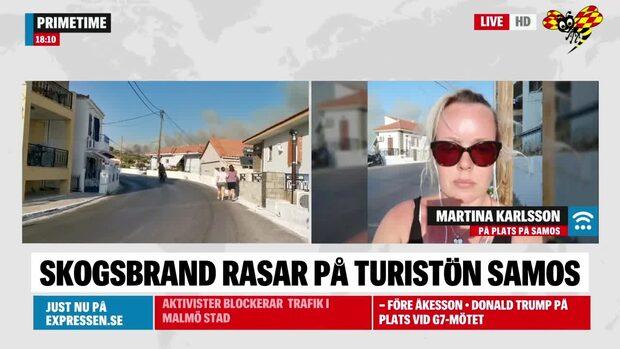 """Turisten på Samos: """"Tre helikoptrar vattenbombar"""""""