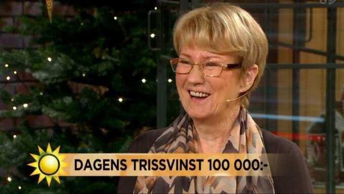 Ann-Marie Karlssons skrapade fram 100 000 kronor på Triss. Foto: TV4