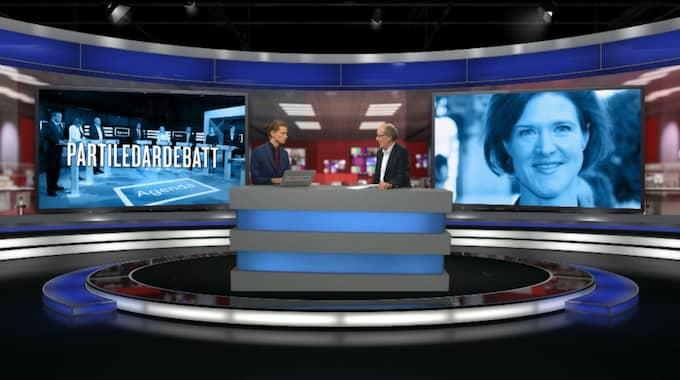 K-G Bergström svarade på frågor i Expressen TV under eftersnacket till partiledardebatten. Foto: Expressen TV