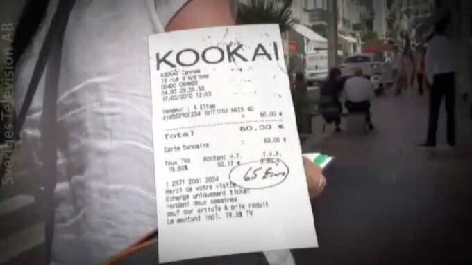 """MODE PÅ MENYN. Ett kvitto från klädbutiken Kookai lämnades in och redovisades som """"lunch"""". Foto: SVT"""