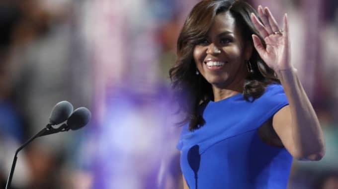 Michelle Obama gjorde ett mycket uppskattat framträdande under natten. Foto: Paul Sancya / AP TT NYHETSBYRÅN