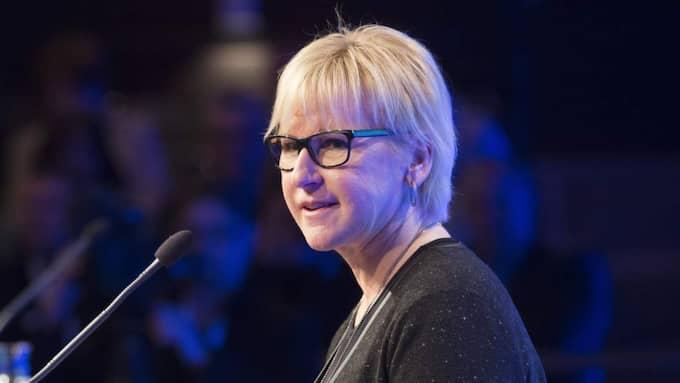 Utrikesminister Margot Wallström vill se en återinförd värnplikt, meddelade hon under Folk och försvar i Sälen. Foto: Sven Lindwall