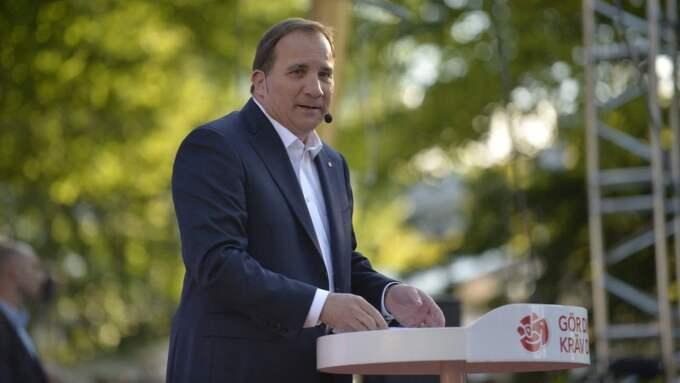 Stefan Löfven inledde sitt tal med att omnämna Olof Palme. Foto: Anna-Karin Nilsson