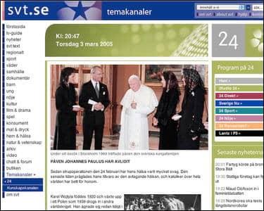 På SVT:s hemsida meddelades det att påven avlidit.