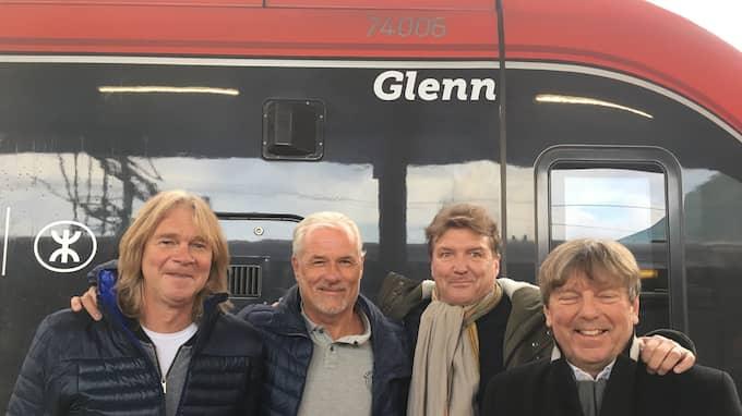 Glenn Strömberg, Glenn Hysén, Glenn Schiller, Glenn Holm. Och tåget Glenn. Foto: Privat