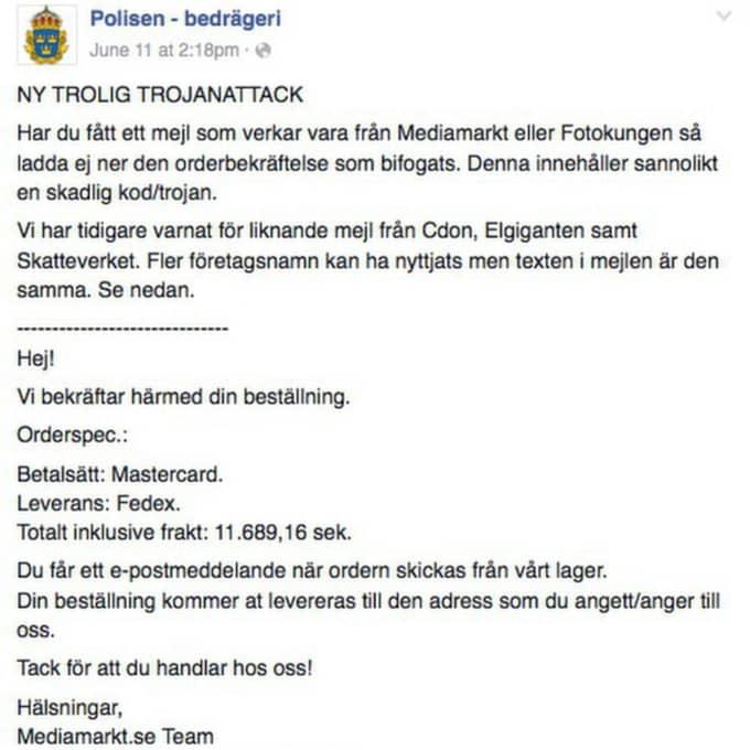 Polisens varning för nya trojanattacken.