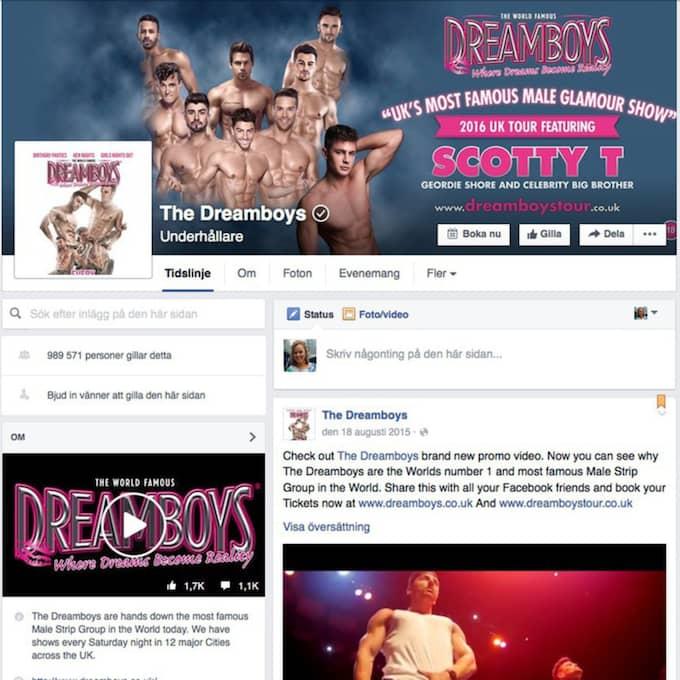 """Här är The Dreamboys facebooksida. De skriver i ett mejl till Expressen att de kommer """"vidta alla åtgärder"""" för att skydda sitt varumärke."""