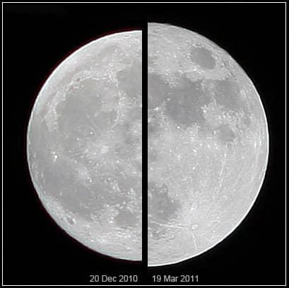 Skillnaden mellan en vanlig fullmåne och en supermåne. Foto: Wikicommons