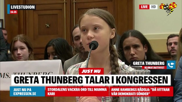 Greta Thunberg talade i kongressen