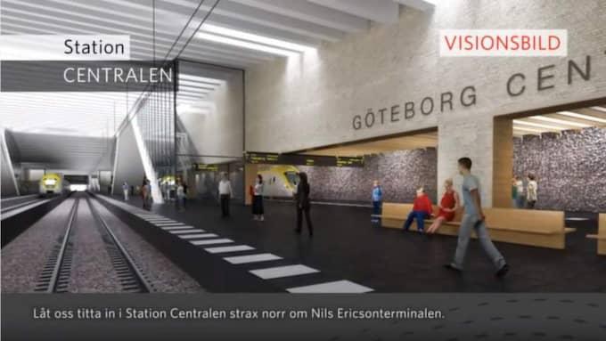 TUNNELNS MYNNING. Från centralstationen är det tänkt att tågtunneln Västlänken ska gå ungefär sex kilometer under jord genom centrala Göteborg. Nu slår Räddningstjänsten i Storgöteborg larm om att det kan bli väldigt komplicerat. Foto: Trafikverket