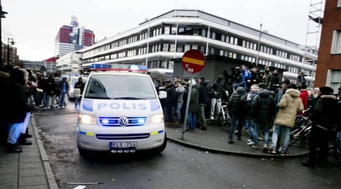 Upploppet vid Plusgymnasiet i Göteborg efter Instagram-skandalen. Foto: Lennart Rehnman