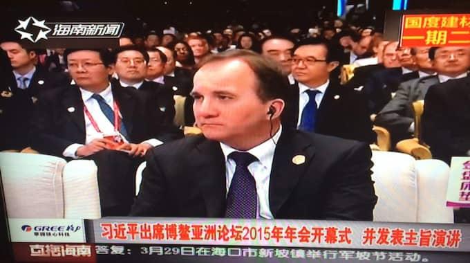 Stefan Löfven på kinesisk tv i går