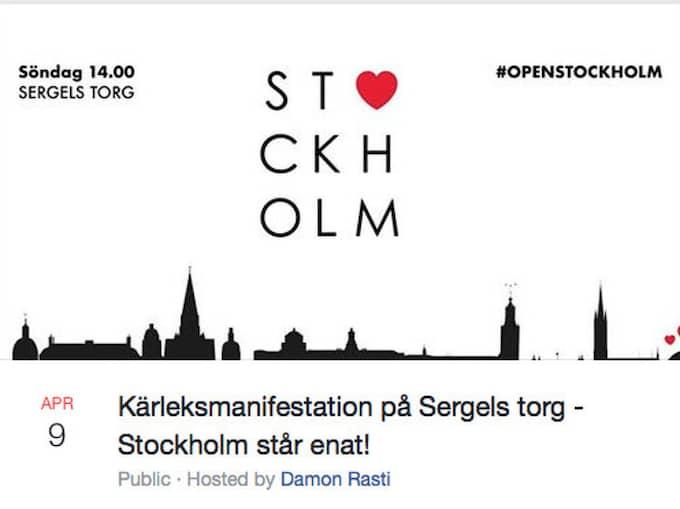 Under söndagen hålls en manifestation för kärlek och omtanke på Sergels torg i Stockholm. Torget ligger intill platsen för terrordådet och människor uppmanas ta med sig ljus och positiva budskap. Foto: Skärmdump