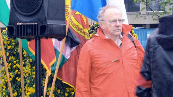 Jan Myrdal på första maj i Malmö 2008. Foto: GUN LAURITZSON