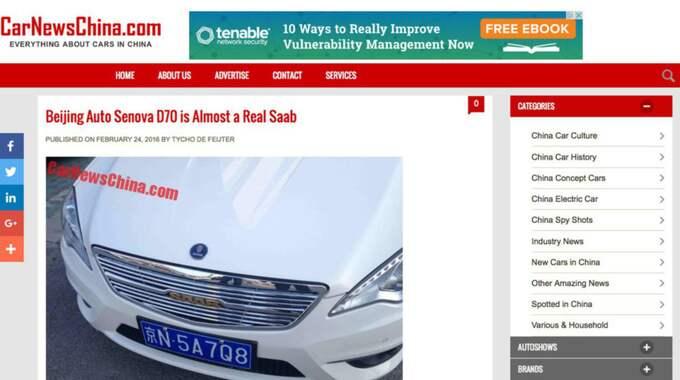 Så här har Car News Chinas hemsida rapporterat om märkena. Foto: Faksimil