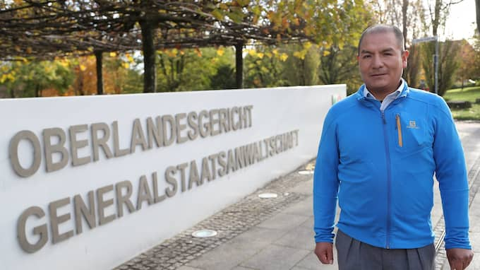 Saúl Luciano Lliuya från bya Huaraz i Peru har stämt tyska energijätten RWE för att ha orsakat klimatförändringar. Foto: FRIEDEMANN VOGEL / EPA / TT / EPA TT NYHETSBYRÅN