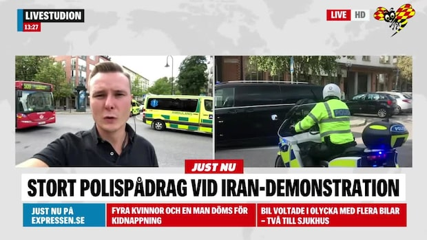 Stort polispådrag vid Iran-demonstration