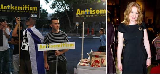 Demonstranter. Reaktioner efter Aftonbladets publicering, sommaren 2009 i Tel Aviv. Foto: Uriel Sinai. Åsa Linderborg. Foto: Tommy Pedersen.
