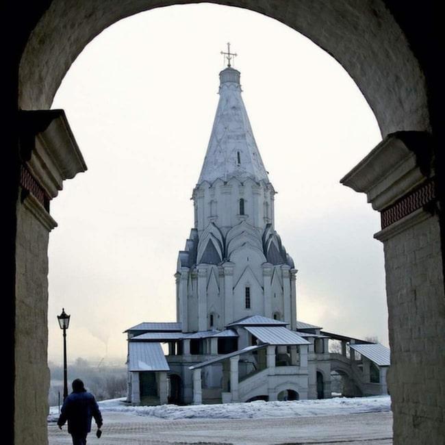 Tsar Alexanders slott i Kolomenskoya-parken.