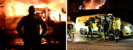 Radhuslänga i brand – 40 brandmän på plats