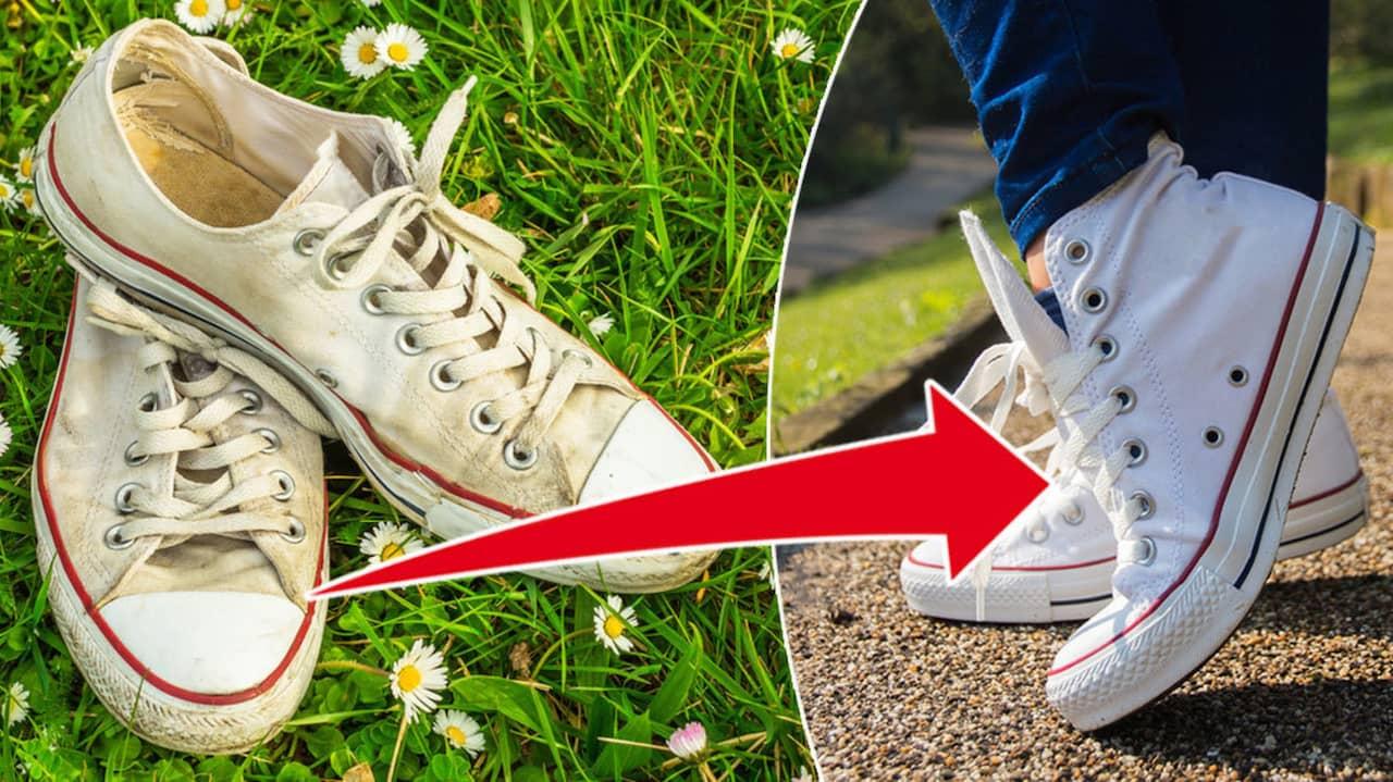 tvätta vita skor