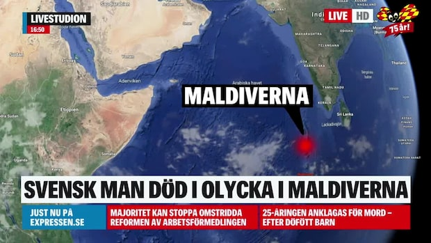 Svensk man död efter båtolycka på Maldiverna
