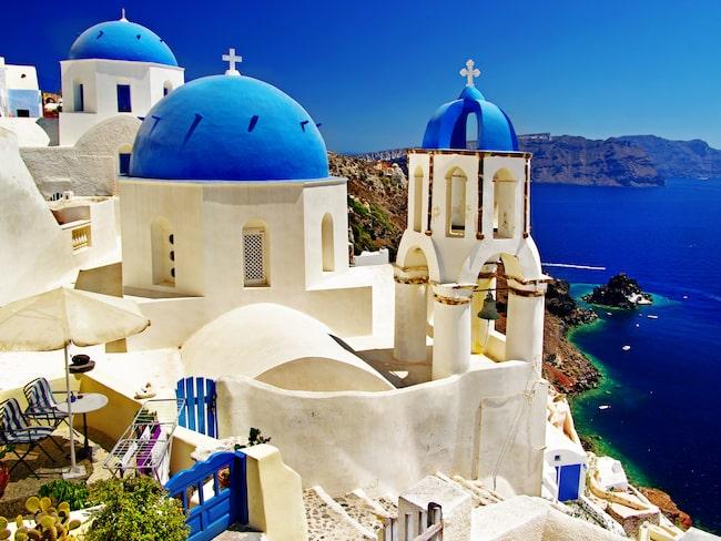 Santorini, en av Greklands mest kända öar.