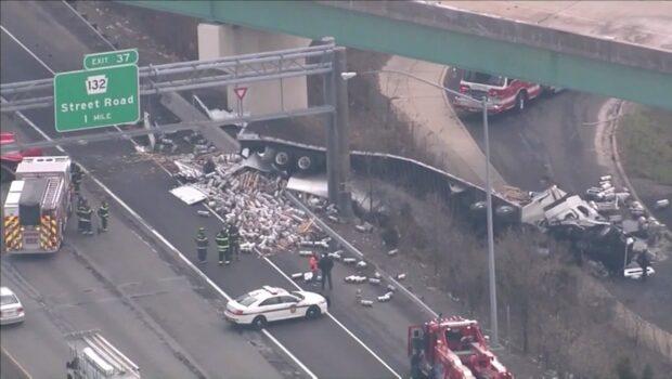 Panik i Philadelphia - hundratals behållare täckte motorvägen